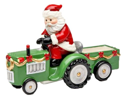 Cosmos Gifts 10517 Santa on Tractor Salt and Pepper Set and Holder, 6-7/8-Inch