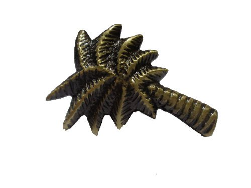 "Antique Brass Finish Single Palm Tree Drawer Knob – Solid Brass 1.9""L Set of ()"