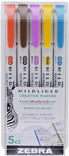 Zebra Pen 783051 Mildliner Double Ended Highlighters, Bullet and Chisel Tips, Mild Water Resistant Ink, AP Certified and Non-toxic, Translucent Ink, Assorted Colors, Pack of 5 ()
