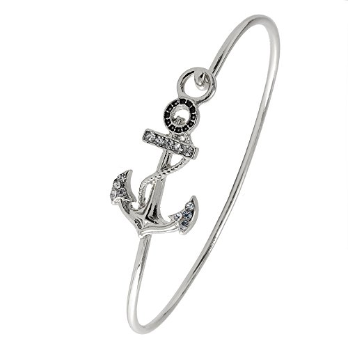 RUXIANG Crystal Sailing Anchor Sea Bangle Cuff Hook Opening Wire Bracelet Jewelry - Holiday Gift Simple Guide Real