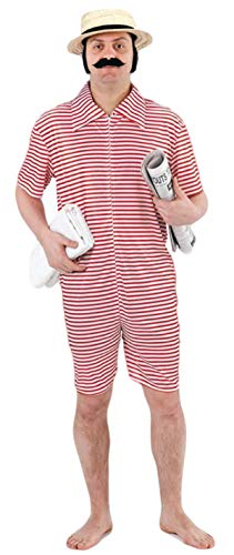 Mens 1920s Red or Blue Bathing Swimming Beach Suit Fancy Dress Costume Outfit ()