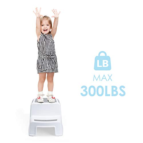 Acko Dual Height Two Step Stool Design with Anti-Slip Surface for Toddler Potty Training Kid Exercising Multi-Use in Bathroom and Kitchen Hold up to 330lbs,Blue