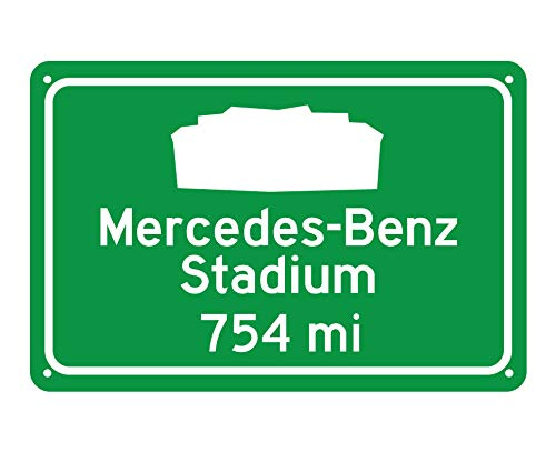 CELYCASY Atlanta Falcons MercedesBenz Stadium Miles to Stadium Highway Road Sign Customize The Distance (Highway Atlanta Sign)