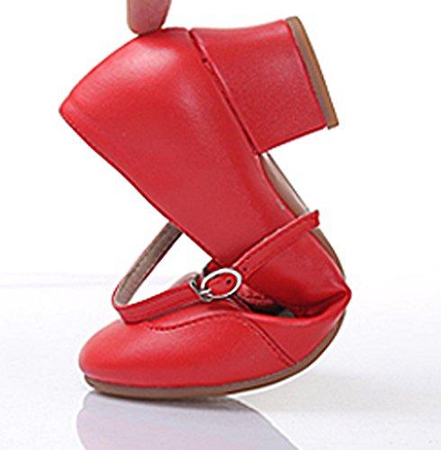 Abby 315 Femmes Salle De Bal Snug Jazz Fermé Orteil Pu Talon Bas Mary Jane Carré Chaussures De Danse Moderne Rouge (une Semelle)