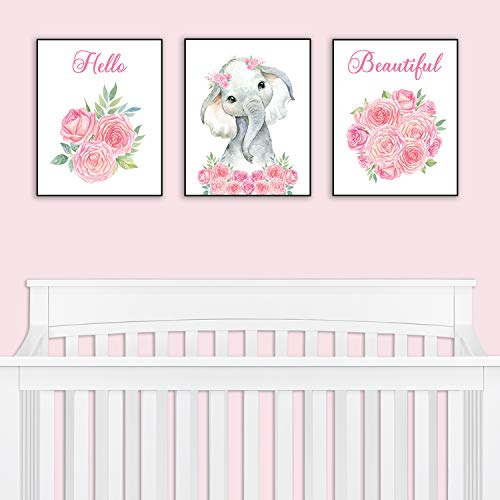 Baby Girl Wall Art - Nursery Decor - Safari Elephant Bedroom Wall Art Decor for Nursery | Decorative & Easy to Frame Printed Pictures 8x10-inch | 3 - (UNFRAMED) Prints | Sweet Elephant Baby Girl Nursery or Girl's Bedroom