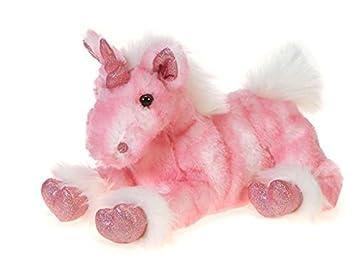43e61be01913 Fiesta Toys Pink Lay Down Unicorn with Glittered Feet Plush Stuffed Animal  Toy - 9.5