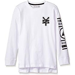 Zoo York Big Boys' Long Sleeve Crew Neck Shirt, Double up White, X-Large (18/20)