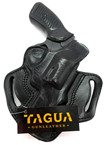 HOLSTERMART USA TAGUA Right Hand OWB Thumb Break Belt Holster in Black Leather for Ruger SP101 Revolver, 3