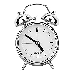 Lewondr Twin Bell Alarm Clock, 2.5 Classic Metal Round Analog Clock, Bedside Table Battery Powered Morning Wake-up Loud Alarm Easy Set with Backlight - Silver