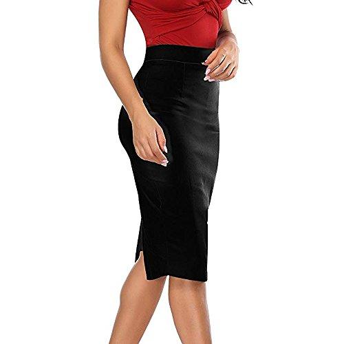 Stretch LGante Crayon Droite Femmes Genou Noir Jupe Jupe Fille Jupe Lastique Lasticit Haut pour Dessous Vintage Taille Bodycon Haute LULIKA Taille ZAOwYO