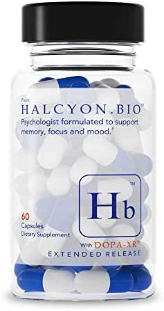 Halcyon Bio Nootropics (60ct) Brain Booster & Memory Supplements - Nootropic - Brain Support Supplement for Focus, Energy & Clarity | Alpha GPC, Rhodiola, Huperzine A, Theacrine, Anthocyanin, Dopa XR