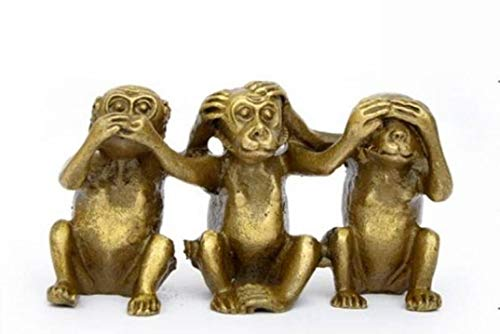 RXIN Brass See Speak Hear No Evil 3 Monkey Statues Carved Sculptures Figurines Home Decoration