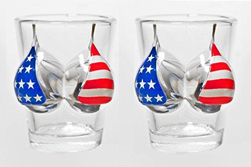Pair Of 2oz Bikini Shot Glasses US Flag Design - Fathers Day