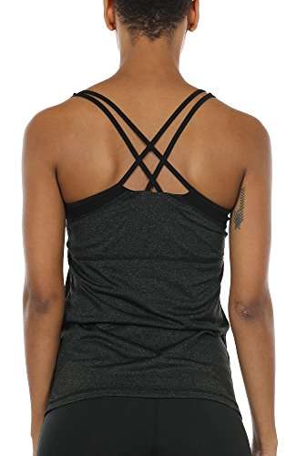 icyzone Women Workout Yoga Spaghetti Strap Racerback Tank Top with Built in Bra(M, Black)
