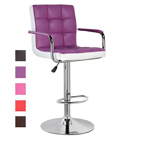 Modern Leather Contemporary Swivel Adjustable Height Bar Stool with Backs and Arms Bar Chair Purple White (Bar Chairs Arm)