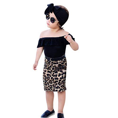 Baby Girl Off Should Tops+Leopard Print Skirt Clothes Set T Shirt (100, Black) ()