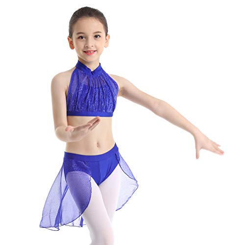 Halter Leotard Dance (ranrann Kids Girls 2PCS Lyrical Ballet Dance Halter Crop Top Gymnastic Leotard Skirt Modern Dancewear Blue 8-10)