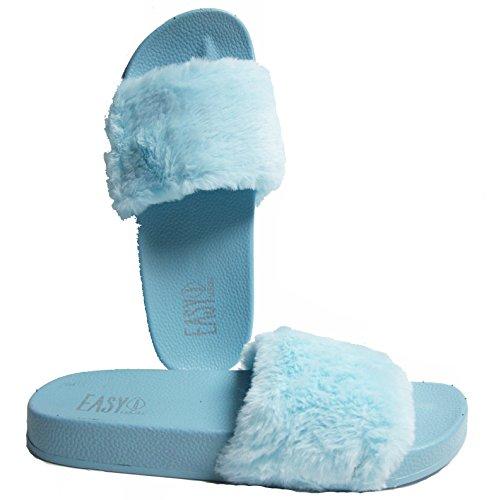 Pantofole Da Donna In Eco-pelliccia Con Sandali Blu
