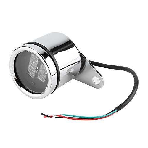 Aramox Motorcycle Speedometer,2 in 1 Motorcycle LED Digital Voltmeter Tachometer Gauge Metal Odometer Speedometer: