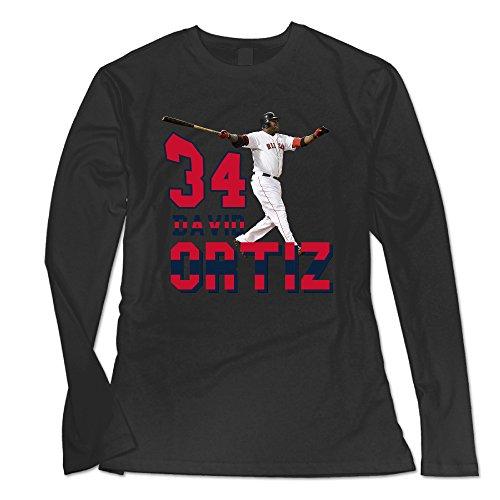 (AUSIN Women's Boston David #34 Ortiz Baseball Casual Long Sleeve Tee Black XL)
