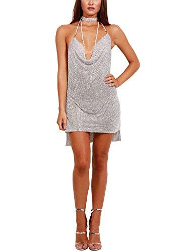 Metal Mesh Dress (S Curve Women's Handmade Chain Halter Backless Crystal Mini Dress Silver Medium)