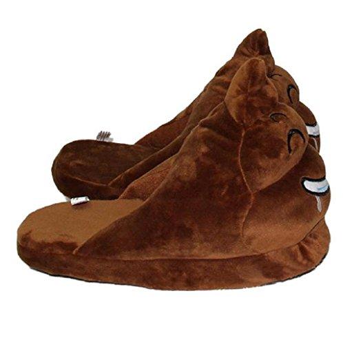 Demarkt Emoji Minions Unisex Zapatillas Invierno Casa interior slippers De Felpa Zapatos(marrón) marrón-1
