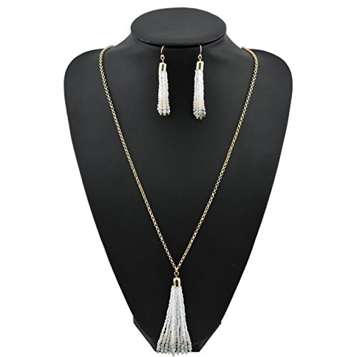 Bocar Long Gold Chain Seed Beads Jewelry Necklace Earring Set with Cluster Tassel Pendant (NK-10467)