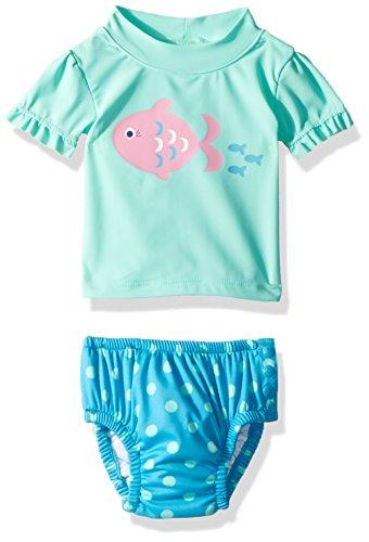 KIKO & MAX Baby Girls Rashguard and Diaper Cover Swim Set, Mint Fish, S