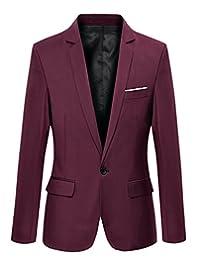 JiaYou Men Boy One Button Casual Outwear Blazer Jacket Coat