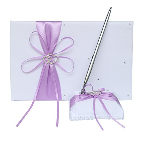 (Guest Book and Pen Set Holder with Pen, Hardcover with Satin Ribbon Bow and Rhinestone Heart Signs for Rustic Wedding Ceremony Party Favor-Lavender, 72 Pages )