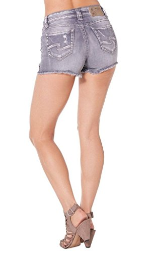 Silver Jeans Women's Aiko Midrise Rise Denim Short, Grey, 29 by Silver Jeans Co.