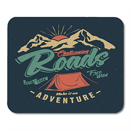 """Emvency Mouse Pads Badge Camp College Camping Tent Vintage Tee and Outdoor Adventure Emblems Mountain Explore Mouse Pad 9.5"""" x 7.9"""" for Notebooks,Desktop Computers Mouse Mats, Office Supplies"""