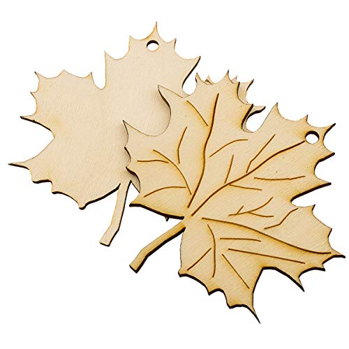 Summer-Ray 20pcs Laser Cut Wooden Maple Leaves Holiday Fall Theme Decoration