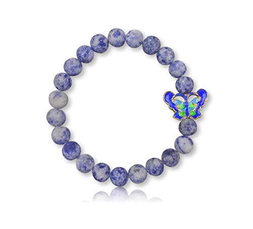 MGR MY GEMS ROCK! 8MM Natural Gem Stone Matte Finish Sodalite Blue Green Colored Butterfly Shaped Cloisonne Charm Stretch Elastic Bracelet.