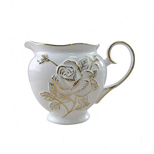 Royal Embossed Rose Porcelain Creamer Fine New Bone China Gold Drawing Coffee Milk Honey Pitcher/Sauce Pitcher/Milk Syrup Server Vase Jug Mug Cup with Handle, Home Decor, White