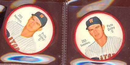 1962 salada tea coins (Baseball) Card# 203 Pete Daley of the Washington Senators Ex - Tea 203