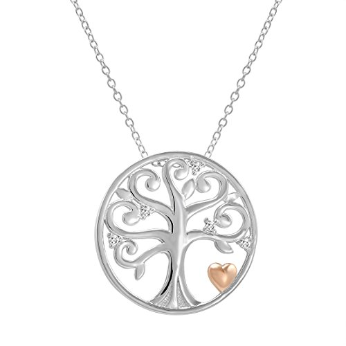 Created White Sapphire Tree of Life Pendant-Necklace with Rose Gold Plated Heart in Sterling (Sapphire Heart Circle Pendant)