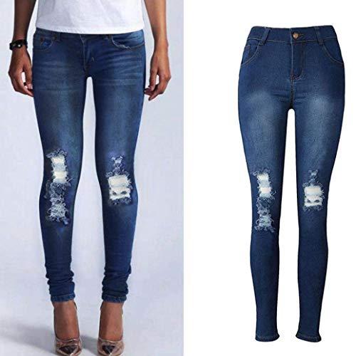 Bobo Jeans Lunghi Pantaloni Qualità Di Ripped Donna 88 Skinny Fashion Stretch Unique Alta Tasche Blau Con Stlie rrRwqApWT