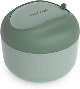 Bentgo Bowl - Insulated Leak-Resistant Bowl with Collapsible Utensils, Snack Compartment and Improved Easy-Grip Design for On-the-Go - Holds Soup, Rice, Cereal & More - BPA-Free, 21.2 oz (Khaki Green)