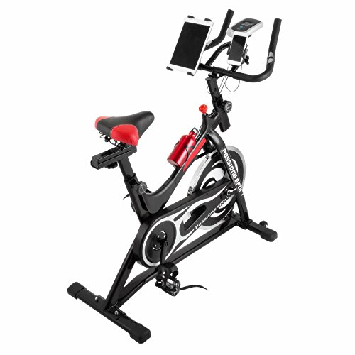 Happybuy Indoor Cycle Bike LCD Display Adjustable Exercise Bike Cardio Workout Stationary Trainer Bicycle with Phone Holder for Indoor Healthy Fitness Exercising (010+holder)