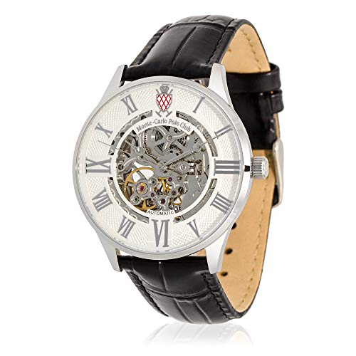 Watch Leather Monte Carlo (Monte-Carlo Polo Club Mens Classic Automatic Watch with Silver Dial and Black Croco Leather Strap)