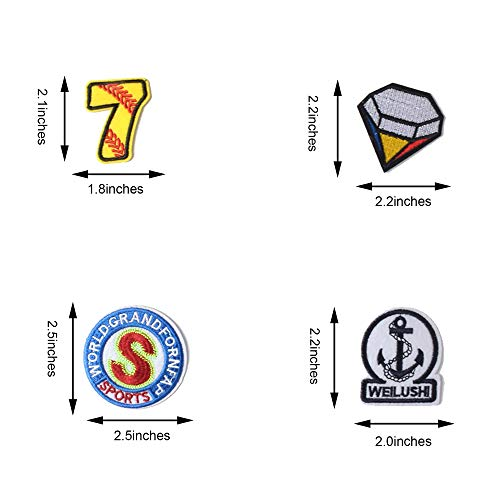SHELCUPCool Embroidered Iron Patches, for Jackets, Packs, Jeans, Assorted Styles43PCS)