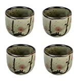 JapanBargain S-2755x4, Set of 4 Japanese Ume Plum Blossom Porcelain Sake Cups, 1.5 oz.