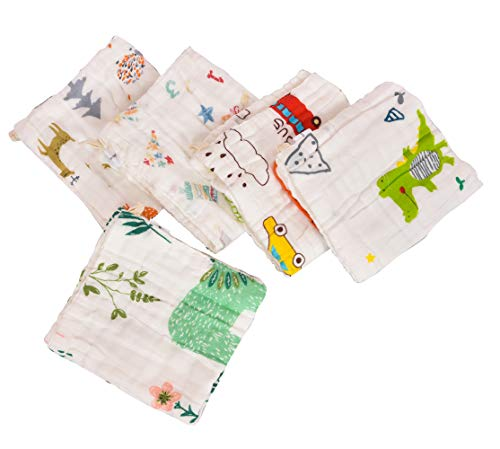 Republic Of Kids – Muslin Cotton 6 Layered Super Absorbent, Soft Wash Cloths/Squares/Reusable Baby Wipes/Baby Towel (30×30 Cms – Pack of 5)