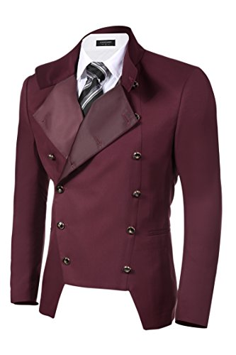COOFANDY Men's Casual Double-Breasted Jacket Slim Fit Blazer (Medium, Dark Red(FBA))