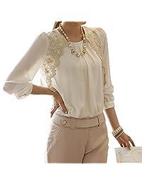Ladies Long Sleeve Embroidered Chiffon Blouse Shirt