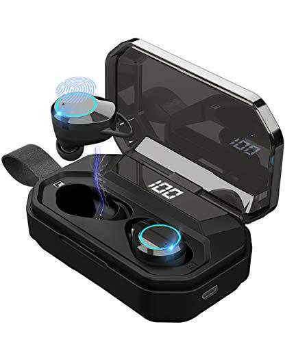 【第二世代強化版 IPX7防水 LEDディスプレイ Bluetooth5.0 】 Bluetooth イヤホン ワイヤレスイヤホン 4000mAh 電池残量インジケーター付き 左右分離型 音量調節 マイク内蔵 自動ペアリング Hi-Fi高音質 6Dステレオサウンド CVC8.0ノイズキャンセリング スポーツ ブルートゥース 完全ワイヤレス ヘッドホン Siri対応 PSE&MSDS&技適認証済み iPhone/iPad/Android対応