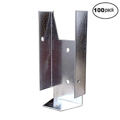 "Fence Clip Bracket Hanger 1-9/16"" W x 2-3/4"" H for 2"" X 4"" Fence Rails (100 Pack)"