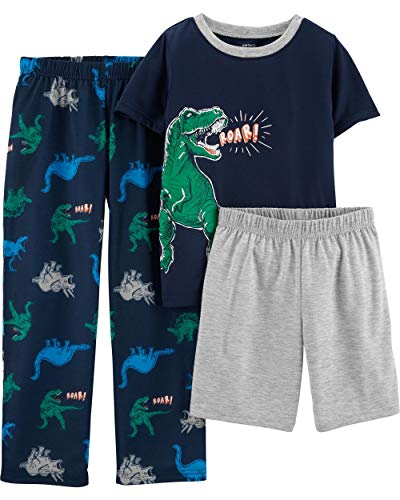 Carter's Boys' 3-Piece Polyester Jersey Pajama Sets (Navy/Dinosaur, 8) ()