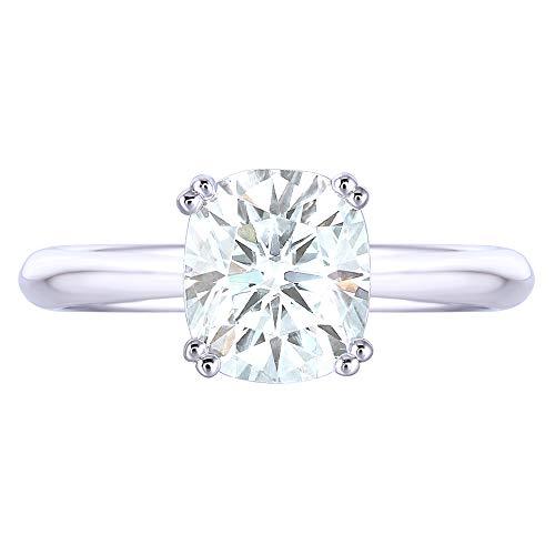 TransGems 2ct 7X8mm Cushion Cut 2.4mm Width 8 Prongs Lab Grown Moissanite Engagement Rings Platinum Plated Silver(5) (Best Platinum Engagement Rings)